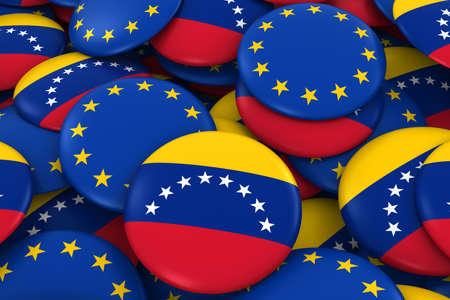 venezuelan: Venezuela and Europe Badges Background - Pile of Venezuelan and European Flag Buttons 3D Illustration