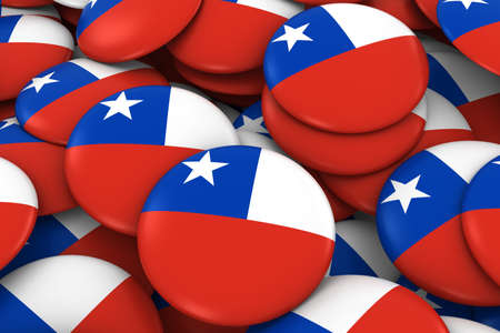 chilean flag: Chile Badges Background - Pile of Chilean Flag Buttons 3D Illustration
