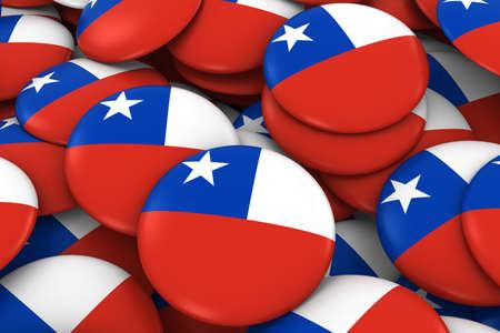 bandera chilena: Chile Placas de fondo - Pila de Chile bandera, los botones 3D Ilustración