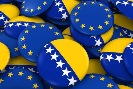 bosnia and herzegovina flag: Bosnia Herzegovina and Europe Badges Background - Pile of Bosnian Herzegovinian and European Flag Buttons 3D Illustration