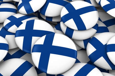 finnish: Finland Badges Background - Pile of Finnish Flag Buttons 3D Illustration