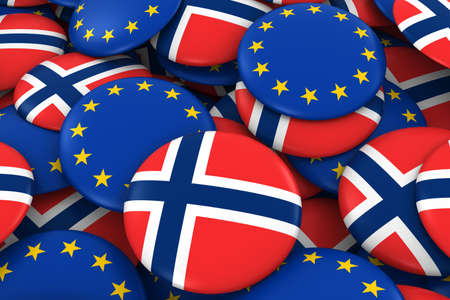 norwegian flag: Norway and Europe Badges Background - Pile of Norwegian and European Flag Buttons 3D Illustration