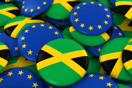 jamaican flag: Jamaica and Europe Badges Background - Pile of Jamaican and European Flag Buttons 3D Illustration Stock Photo