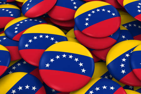 venezuelan: Venezuela Badges Background - Pile of Venezuelan Flag Buttons 3D Illustration