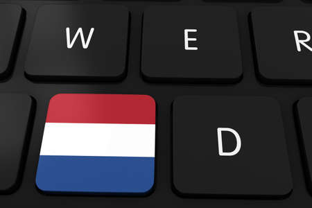 dutch flag: Dutch Flag Button on Black Computer Keyboard - 3D Illustration Stock Photo