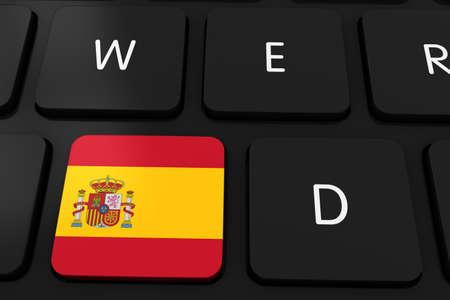 spanish flag: Spanish Flag Button on Black Computer Keyboard - 3D Illustration Stock Photo