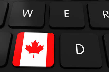 canadian flag: Canadian Flag Button on Black Computer Keyboard - 3D Illustration Stock Photo