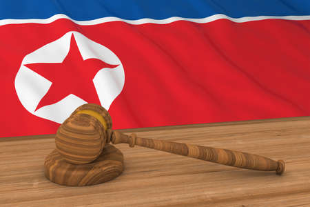 North Korean Law Concept - Flag of North Korea Behind Judges Gavel 3D Illustration