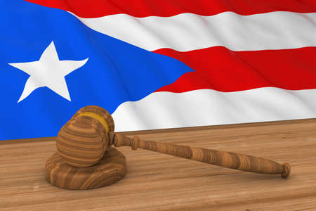puerto rican: Puerto Rican Law Concept - Flag of Puerto Rico Behind Judges Gavel 3D Illustration