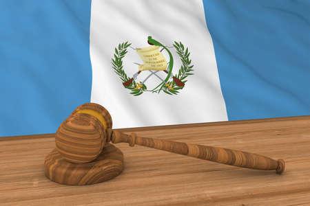 guatemalan: Guatemalan Law Concept - Flag of Guatemala Behind Judges Gavel 3D Illustration