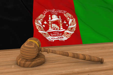 afghan: Afghan Law Concept - Flag of Afghanistan Behind Judges Gavel 3D Illustration