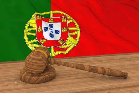 law of portugal: Portuguese Law Concept - Flag of Portugal Behind Judges Gavel 3D Illustration