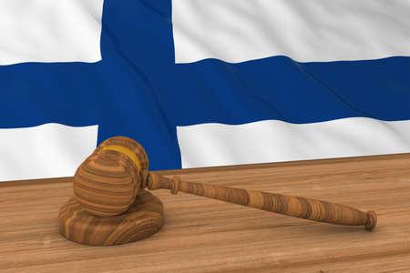 finnish: Finnish Law Concept - Flag of Finland Behind Judges Gavel 3D Illustration