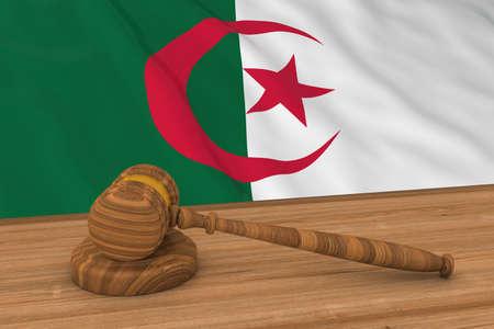 Algerian Law Concept - Flag of Algeria Behind Judges Gavel 3D Illustration