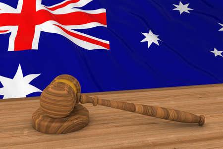 Australian Law Concept - Flag of Australia Behind Judges Gavel 3D Illustration