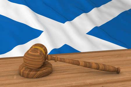 Scottish Law Concept - Flag of Scotland Behind Judges Gavel 3D Illustration