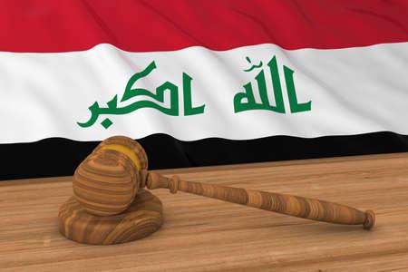 iraqi: Iraqi Law Concept - Flag of Iraq Behind Judges Gavel 3D Illustration