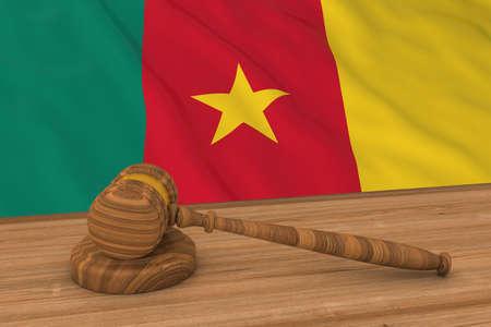 cameroonian: Cameroonian Law Concept - Flag of Cameroon Behind Judges Gavel 3D Illustration