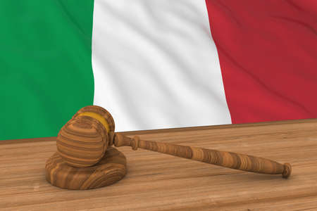 Italian Law Concept - Flag of Italy Behind Judges Gavel 3D Illustration