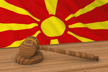 macedonian flag: Macedonian Law Concept - Flag of Macedonia Behind Judges Gavel 3D Illustration