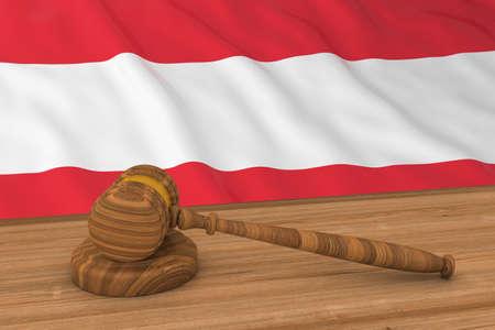 austrian: Austrian Law Concept - Flag of Austria Behind Judges Gavel 3D Illustration Stock Photo
