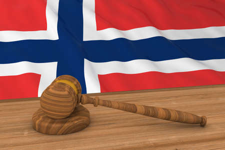 norwegian flag: Norwegian Law Concept - Flag of Norway Behind Judges Gavel 3D Illustration