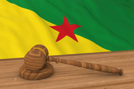 guiana: French Guianese Law Concept - Flag of French Guiana Behind Judges Gavel 3D Illustration Stock Photo