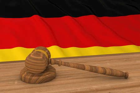 German Law Concept - Flag of Germany Behind Judges Gavel 3D Illustration Stock Photo