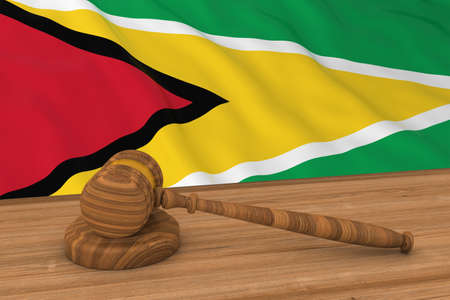 guyanese: Guyanese Law Concept - Flag of Guyana Behind Judges Gavel 3D Illustration