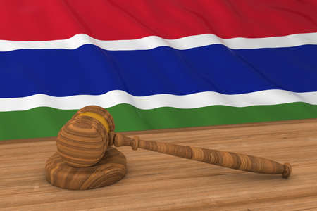 gambia: Gambian Law Concept - Flag of Gambia Behind Judges Gavel 3D Illustration