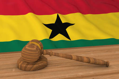 Ghanaian Law Concept - Flag of Ghana Behind Judges Gavel 3D Illustration Stock Photo