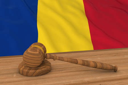 Romanian Law Concept - Flag of Romania Behind Judges Gavel 3D Illustration