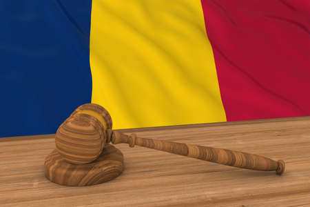 chadian: Chadian Law Concept - Flag of Chad Behind Judges Gavel 3D Illustration Stock Photo