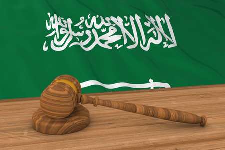 judge gavel: Saudi Arabian Law Concept - Flag of Saudi Arabia Behind Judges Gavel 3D Illustration