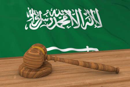 Saudi Arabian Law Concept - Flag of Saudi Arabia Behind Judges Gavel 3D Illustration
