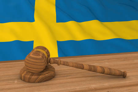 swedish: Swedish Law Concept - Flag of Sweden Behind Judges Gavel 3D Illustration