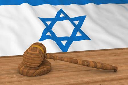 Israeli Law Concept - Flag of Israel Behind Judges Gavel 3D Illustration
