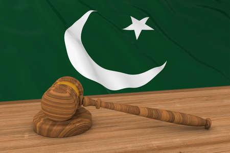 pakistani pakistan: Pakistani Law Concept - Flag of Pakistan Behind Judges Gavel 3D Illustration Stock Photo