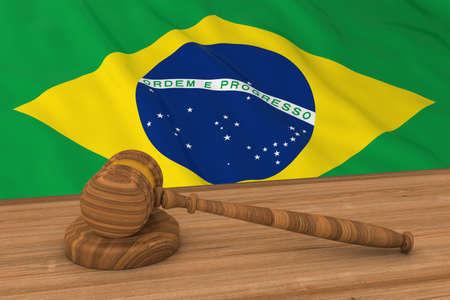 law of brazil: Brazilian Law Concept - Flag of Brazil Behind Judges Gavel 3D Illustration