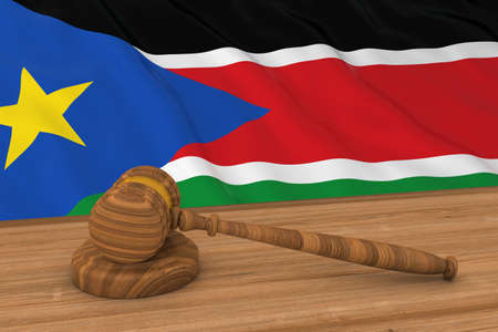 South Sudanese Law Concept - Flag of South Sudan Behind Judges Gavel 3D Illustration