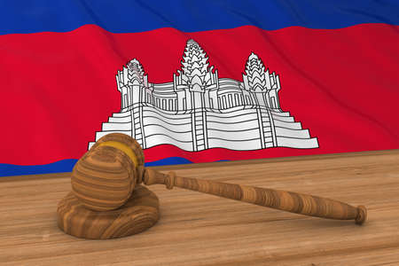 cambodian: Cambodian Law Concept - Flag of Cambodia Behind Judges Gavel 3D Illustration Stock Photo