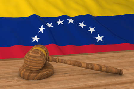 venezuelan: Venezuelan Law Concept - Flag of Venezuela Behind Judges Gavel 3D Illustration