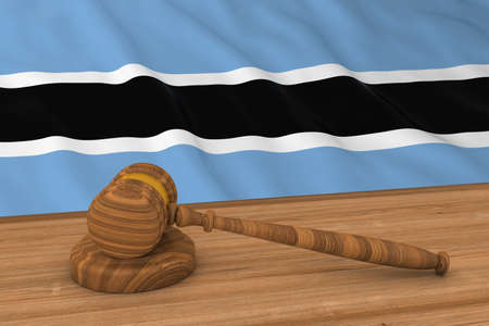 botswanan: Botswanan Law Concept - Flag of Botswana Behind Judges Gavel 3D Illustration