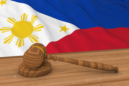 filipino: Filipino Law Concept - Flag of Philippines Behind Judges Gavel 3D Illustration