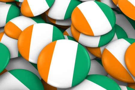 Cote dIvoire Badges Background - Pile of Ivorian Flag Buttons 3D Illustration Stock Photo