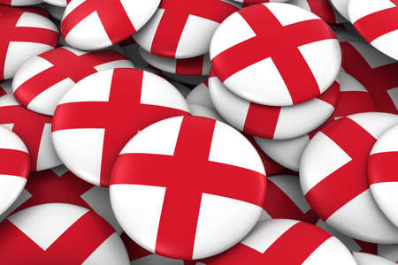 bandera inglesa: England Badges Background - Pile of English Flag Buttons 3D Illustration