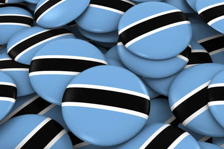 botswanan: Botswana Badges Background - Pile of Botswanan Flag Buttons 3D Illustration Stock Photo