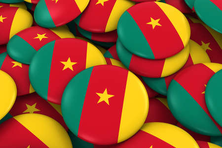 cameroonian: Cameroon Badges Background - Pile of Cameroonian Flag Buttons 3D Illustration