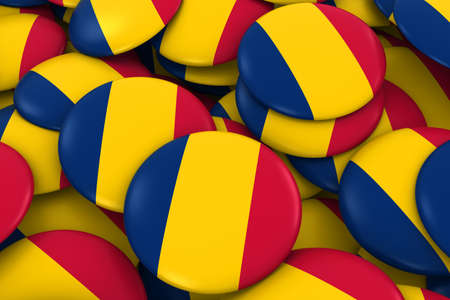 chadian: Chad Badges Background - Pile of Chadian Flag Buttons 3D Illustration
