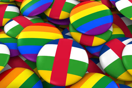 central african republic: Central African Republic Gay Rights Concept - Central African Flag and Gay Pride Badges 3D Illustration